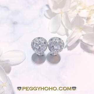 【Peggyhoho】 全新18K白金1卡20份真鑽石耳環 拼金錢| 經典系列|閃爆馬眼拼3卡半 鑽石效果