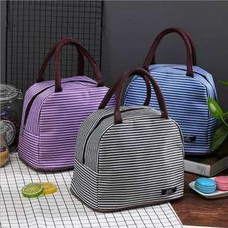 Lunch bag cooler bag Tas bekal Garis Garis  - Cokelat Tua