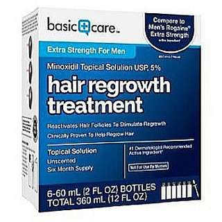 NEW! 6 months supply : Basic Care : 5% Minoxidil topical solution - 6 x 60 ml bottles (with dropper and educational booklet)