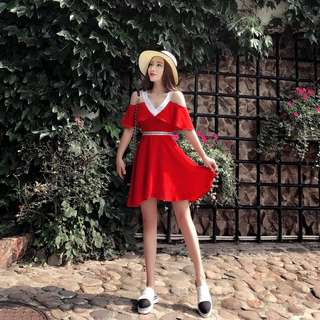 Minimei追加款✪超顯瘦遮肉洋裝減齡韓系韓版甜美約會伴娘裝喝喜酒夏裝新款名媛氣質V領露肩紅色荷葉邊收腰雪紡連衣裙女