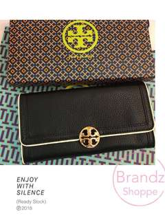 👑Best Deal! 💯% Original Tory Burch Women's Leather Long Wallet W/ Metal Logo @ Ready Stock