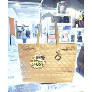 Christian Dior Beige Color Pvc Canvas Shoulder Shopping Tote Handbag Hand Bag 迪奧 杏色 帆布 防水物料 手挽袋 手袋 肩袋 袋 購物袋