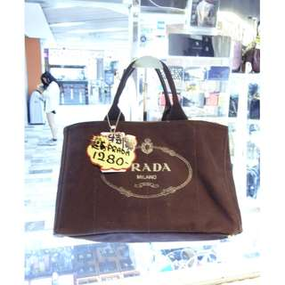 Prada Logo Dark Brown Canvas Shoulder Shopping Tote Handbag Hand Bag 普拉達 深啡色 帆布 手挽袋 手袋 肩袋 袋