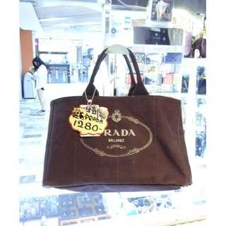 Prada Logo Dark Brown Canvas Shoulder Shopping Tote Handbag Hand Bag 普拉達 深啡色 帆布 手挽袋 手袋 肩袋 袋