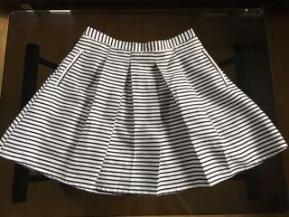 Pleated Striped A-Line Skirt