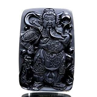 珍珠林~關公像~大型掛珮~高檔質純黑曜岩(石).化解負能量聖品 #340