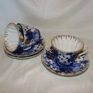 3x Lomonosov Russian Domes Cobalt Blue Teacup & saucer