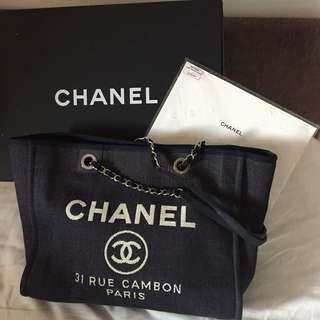 Original Chanel Navy Blue Denim Deauville Medium Tote Bag