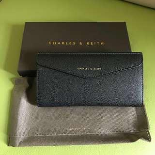 Charles & Keith Wallet 黑色 長銀包 信封型