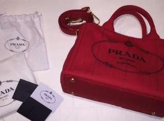 PRADA capana red canvas bag 90% new