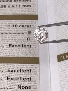 GIA鑽石1.10卡  E  I1 EX/EX/EX NONE