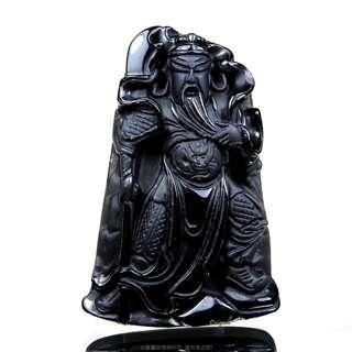 珍珠林~關公像~大型掛珮~高檔質純黑曜岩(石).化解負能量聖品 #346