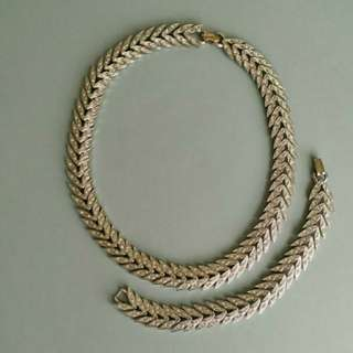 特價魚骨碎閃石頸鏈手鏈套裝