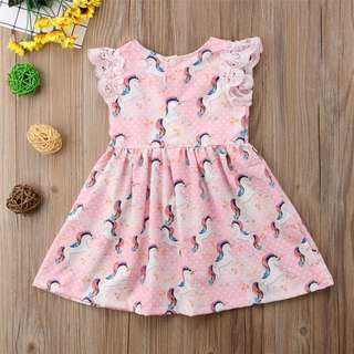 🚚 Toddler Kid Baby Girls Lace Unicorn Party Pageant Dress Sundress Clothes Fashion