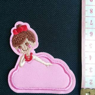 Pink Princess applique iron on patch fabric badge decoration kids free normal postage