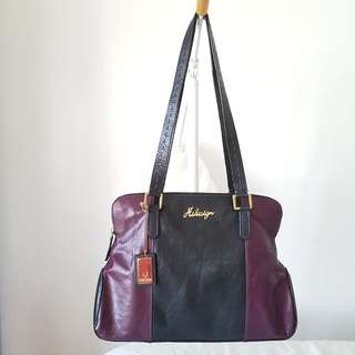 Original HIDESIGN Leather Bag Black Aubergine