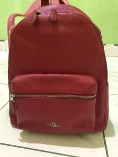 coach women bag ransel red authentic
