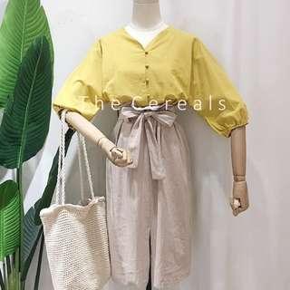 TC2482 Korea 2 Pieces Top + High Waist Belted Skirt (Mustard,White)