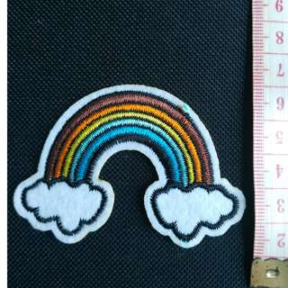 Rainbow applique embroidered iron on patch fabric badge decoration free normal postage
