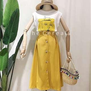 TC2483 Korea 2 Pieces Summer Sleeveless Shirt + Buttons Up Skirt (Yellow,Beige,Blue)