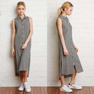 Forever 21 Gingham Midi Shirt Dress