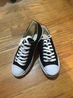 🚚 ✨降價 Converse皮革開口笑黑色帆布鞋