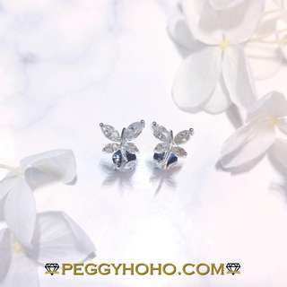 【Peggyhoho】全新18K白金51份超白超閃鑽石耳環|罕有欖尖鑽石 蝴蝶 | 大睇靚款