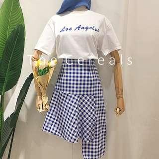 TC2484 Korea 2 Pieces Shirt + Checker Irregular Skirt (Blue,Black)