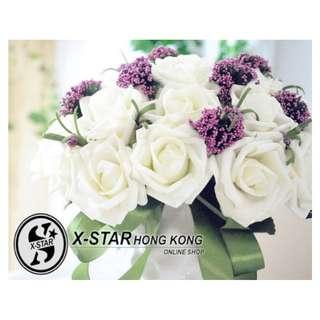 s138032 韓feel 新娘仿真花30朵手捧花 白色玫瑰 婚禮 婚禮用品 像真度100%