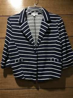 Cropped cotton blazer - Navy Blue & White Stripes