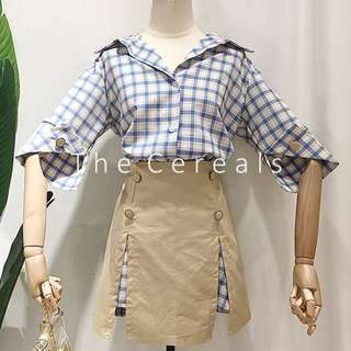 TC2485 Korea 2 Pieces Checkers Dress + Buttons Split Skirt (set)