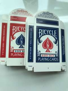 Empty Bicycle Playing Cards boxes ( red/blue )