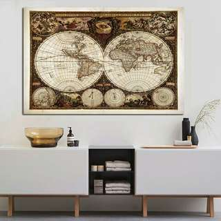 Map Custom print antique large