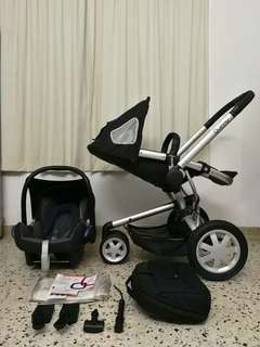 SET QUINNY BUZZ XTRA + INFANT CAR SEAT MAXI COSI CABRIOFIX + ADAPTER !! .