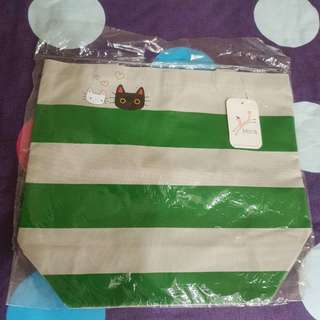 Malis全新附吊牌 帆布橫條貓咪包 手提包/肩背包