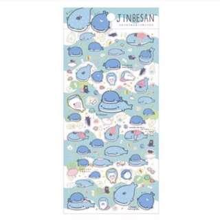 San-x Jinbesan Whale Shark Sticker Sheets