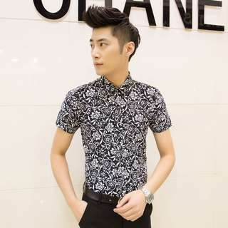 Men's Floral Polo Shirt Slim Fit Collared Short Sleeve