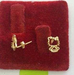 18K Saudi Gold Hello kitty Earring