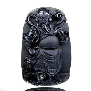 珍珠林~關公像~大型掛珮~高檔質純黑曜岩(石).化解負能量聖品 #018