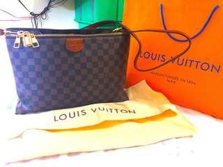 Replica Louis Vuitton Damier Canvas Top Handle Bag Wine Red Inside