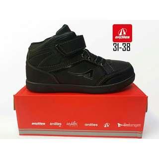 Sepatu ardiles full hitam invidia,  sepatu anak sekolah sd ready 31-34