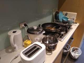 Woks, Pots, Pans, Plates, bedsheets, pillows kitchen appliances