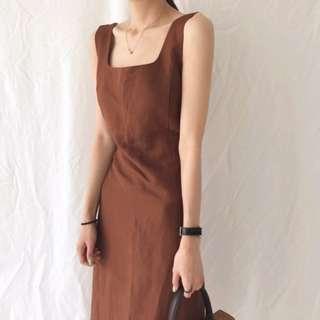 耐看簡約棕色方領棉麻連身裙/洋裝