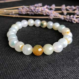 8.8mm Icy A-Grade Type A Natural Jadeite Jade Yellow Flora Bluish Green Beaded Bracelet No.190087