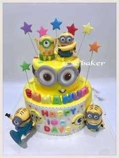 立體蛋糕 3Dcake 百日宴蛋糕 生日蛋糕 壞蛋掌門人蛋糕 minions蛋糕 迷你兵團蛋糕 迷你兵蛋糕