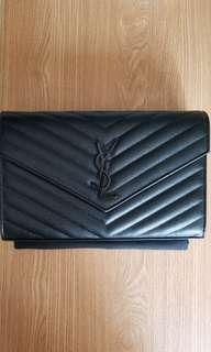 YSL Chain Wallet So Black WOC 22.5cm