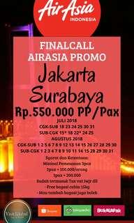 Tiket Pesawat Promo Jakarta - Surabaya Juli-Agustus 2018