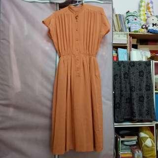 古著  橘子醬女孩純色素洋裝