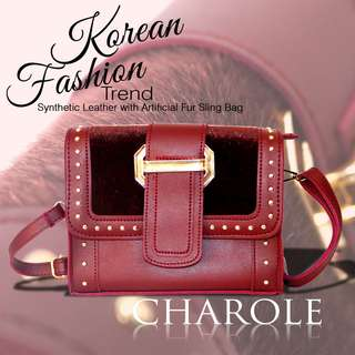 Korean Fashion Trend Sling Bag w/ Artificial Fur
