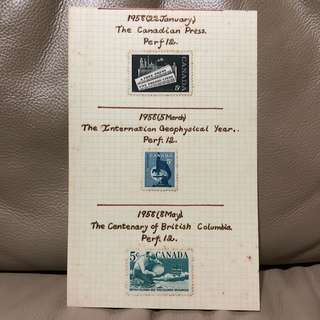 Stamp - Canada 1958 - Canadian Press , International Geophysical Year & Centenary of British Columbia (Mint Hinged)